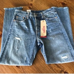 LEVI'S high rise wedgie fit tapered ankle jeans